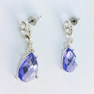 New! Purple Teardrop Crystals Rhinestones Earrings
